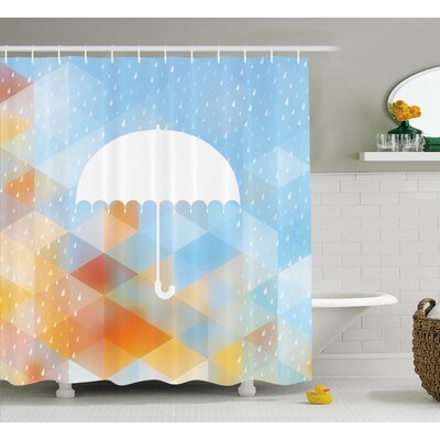 "Geometric Umbrella Decor Shower Curtain Size: 69"" H x 70"" W"