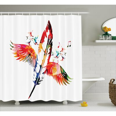"""Feather Fashioned of A Bird Decor Shower Curtain Size: 69"""" H x 75"""" W"""