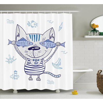 """Cat with Fish Decor Shower Curtain Size: 69"""" H x 84"""" W"""