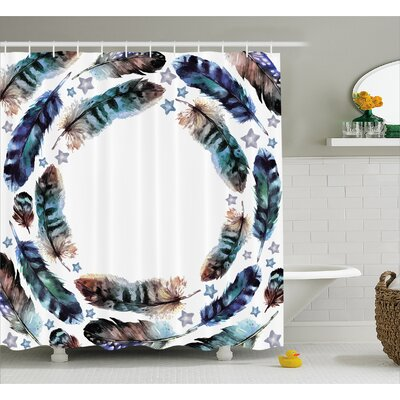 "Feather with Little Stars Decor Shower Curtain Size: 69"" H x 70"" W"