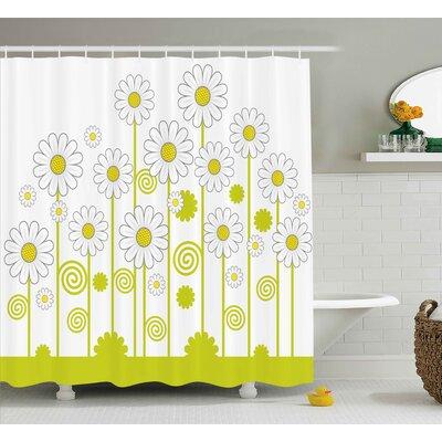 "Daisy Flowers Shower Curtain Size: 69"" H x 84"" W"