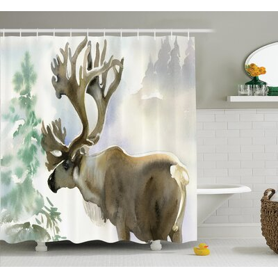 """Moose Shower Curtain Size: 69"""" H x 70"""" W"""