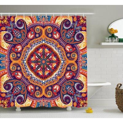 "Arabic Ornamental Decor Shower Curtain Size: 69"" H x 75"" W"