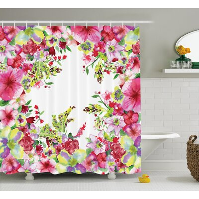 """Curly Willow and Dahlia Floral Decor Shower Curtain Size: 69"""" H x 84"""" W"""