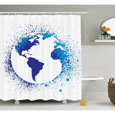 "Globe with Ink Splatter Decor Shower Curtain Size: 69"" H x 75"" W"