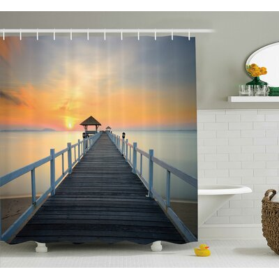 "Long Exposure Deck Path by Sea Shore Decor Shower Curtain Size: 69"" H x 70"" W"