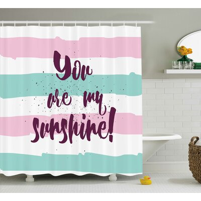 """Striped Quotes Decor Shower Curtain Size: 69"""" H x 70"""" W"""