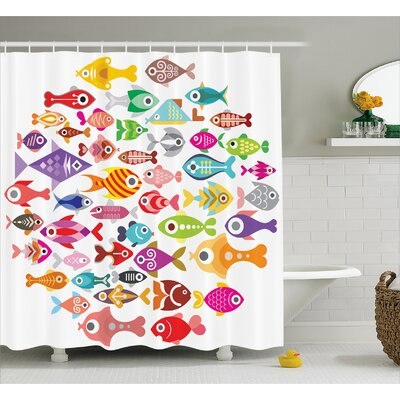 "Wyman Rounded Different Fish Decor Shower Curtain Size: 69"" H x 70"" W"