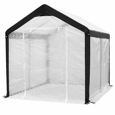 Abba Patio Large Walk in Fully Enclosed Lawn and Garden Greenhouse with Windows, 8 X 10 Ft, White