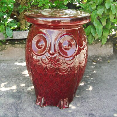 Makhzane Owl Ceramic Garden Stool Finish: Vintage Red Glaze
