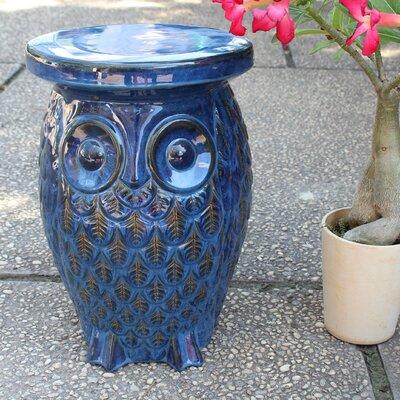 Makhzane Owl Ceramic Garden Stool Finish: Navy Blue Glaze