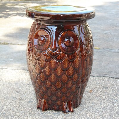 Makhzane Owl Ceramic Garden Stool Finish: Brown Glaze