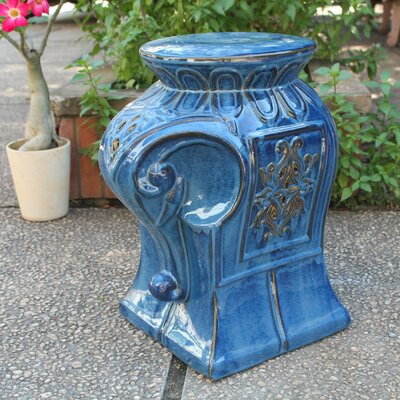 Evonna Elephant Ceramic Garden Stool Color: Navy Blue Glaze