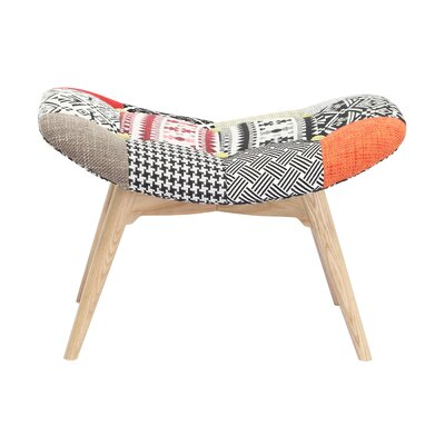 Malini Button Patchwork Upholstered Accent Stool