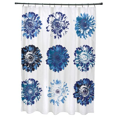 Willa Floral Print Shower Curtain Color: Blue