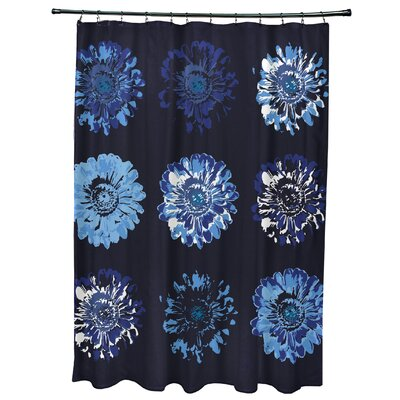Willa Gypsy Floral 2 Print Shower Curtain Color: Navy Blue