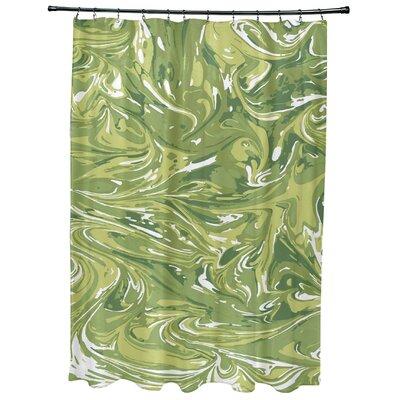 Willa Mlange Geometric Print Shower Curtain Color: Green