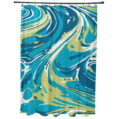 Willa Marble Blend Geometric Print Shower Curtain Color: Turquoise