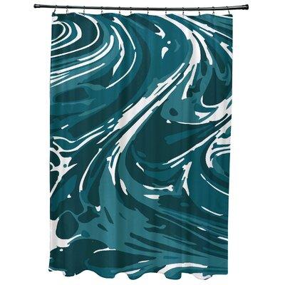 Willa Marble Geometric Print Shower Curtain Color: Teal