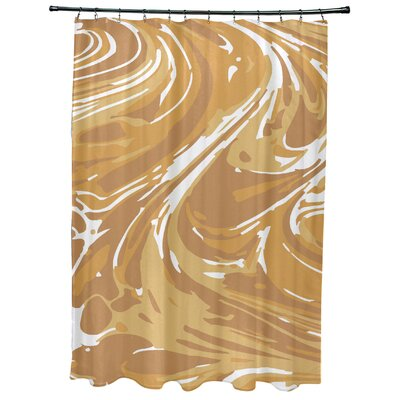 Willa Marble Geometric Print Shower Curtain Color: Gold