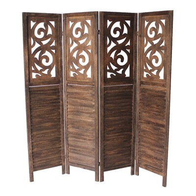 Mota 4 Panel Room Divider Color: Dark Brown