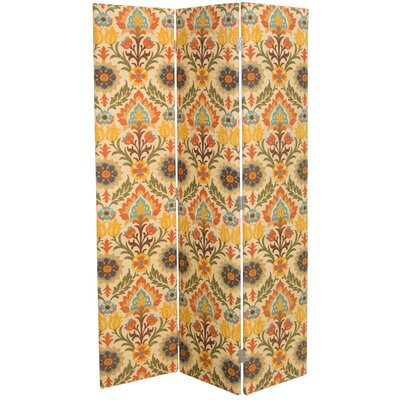 Mansour 3 Panel Room Divider Color: Adobe