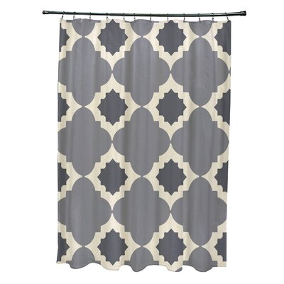 Nikhil Geometric Print Shower Curtain Color: Gray