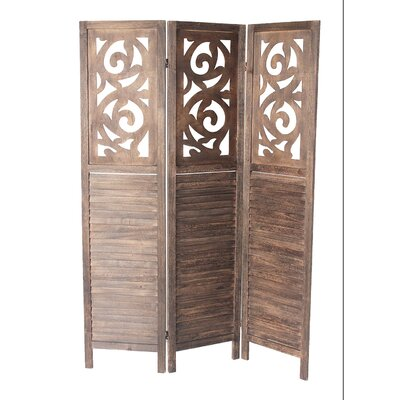 Mariam 3 Panel Room Divider Color: Brown