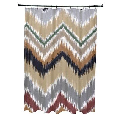 Arlington Chevron Shower Curtain Color: Navy Blue/Taupe