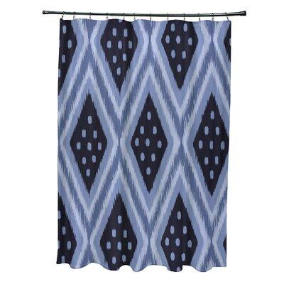 Arlington Geometric Shower Curtain Color: Blue/Navy Blue