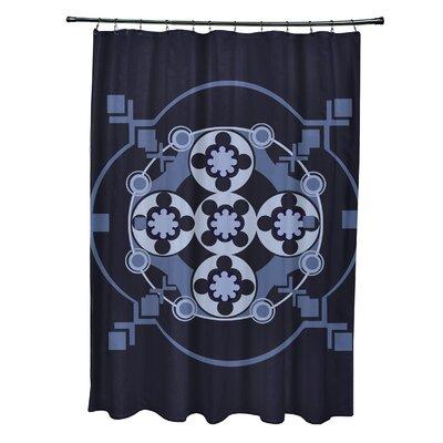 Anita Geometric Shower Curtain Color: Navy Blue/Blue