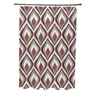 Menara Geometric Shower Curtain Color: Off White/Rust