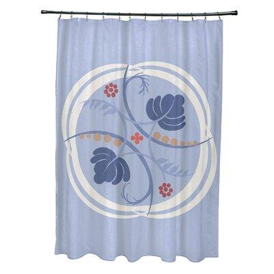 Katrina Shower Curtain Color: Light Blue/Coral