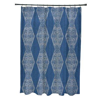 Soluri Pyramid Print Shower Curtain Color: Blue
