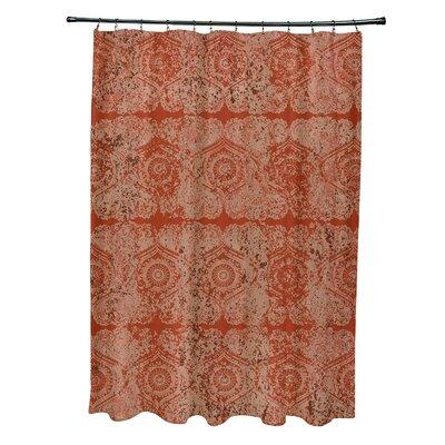 Soluri Patina Geometric Print Shower Curtain Color: Orange / Rust