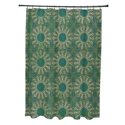 Soluri Sun Tile Print Shower Curtain Color: Green