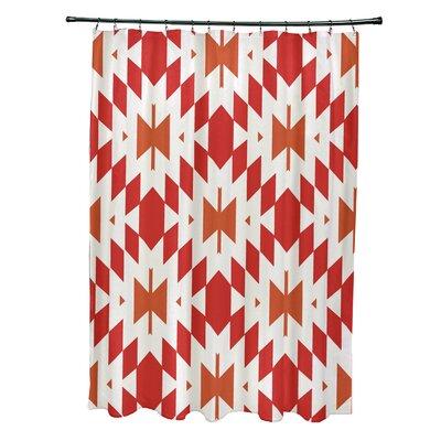 Soluri Geometric Print Shower Curtain Color: Orange