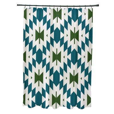 Soluri Geometric Print Shower Curtain Color: Teal