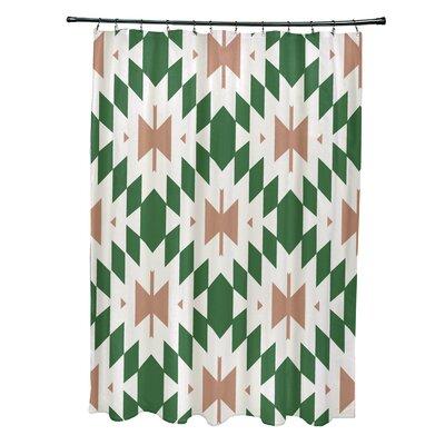 Soluri Geometric Print Shower Curtain Color: Green