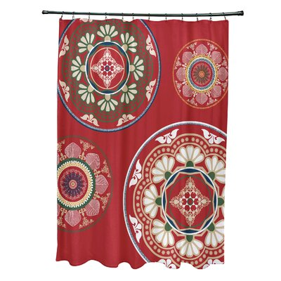 Soluri Medallions Print Shower Curtain Color: Red