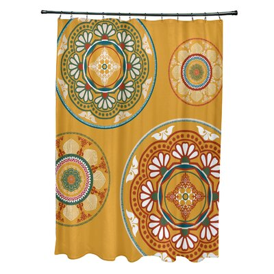 Soluri Medallions Print Shower Curtain Color: Gold