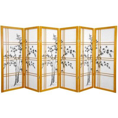 Lynn Tree Room Divider Number of Panels: 6 Panels, Color: Honey