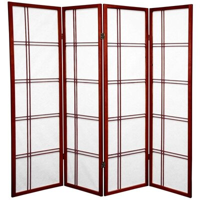 Marla 4 Panel Room Divider Color: Rosewood