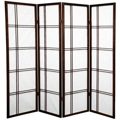 Marla 4 Panel Room Divider Color: Walnut