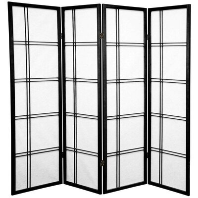 Marla 4 Panel Room Divider Color: Black