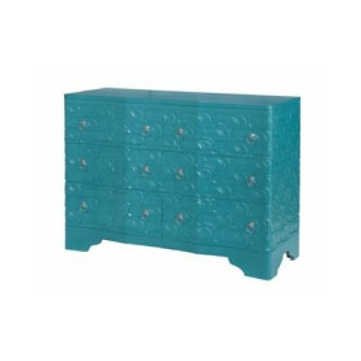 Galatea Sandal 6 Drawer Accent Chest Color: Grain of Wood/Green Cyan