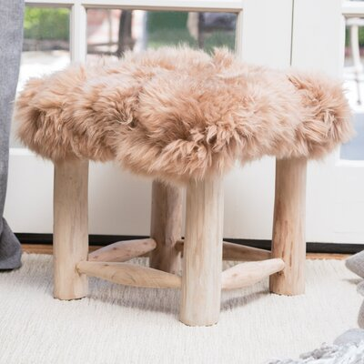 Patmos Sheep Hide Square Vanity Stool Color: Taupe