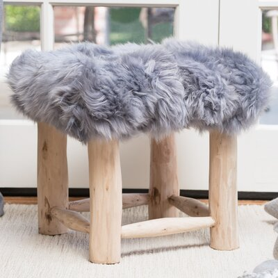 Patmos Sheep Hide Square Vanity Stool Color: Gray