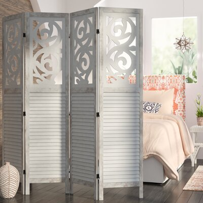 Mota 4 Panel Room Divider Color: Gray