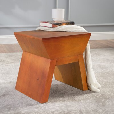 Tabitha Wood Accent Stool Color: Orange